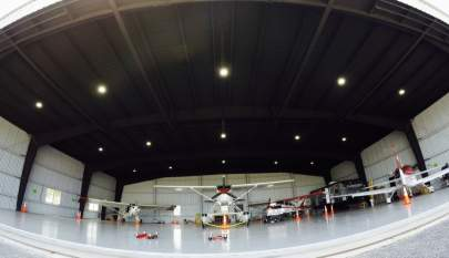 Multiple planes in a hangar